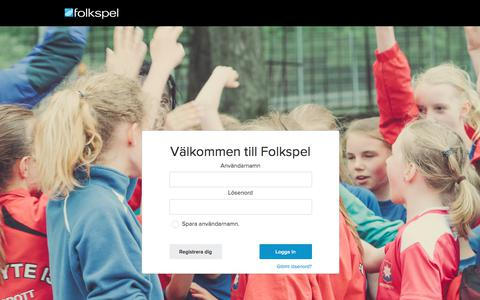 Screenshot of Login Page folkspel.se captured Oct. 14, 2017