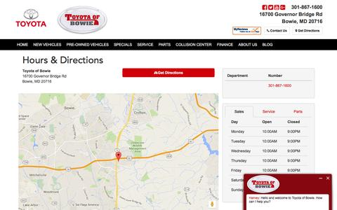 Screenshot of Hours Page toyotaofbowie.com - Toyota of Bowie Hours & Directions - Maryland Toyota Dealership serving Bowie, Annapolis, Silver Spring, Laurel, Glen Bernie, Waldorf, Marlow Heights - captured Feb. 25, 2016