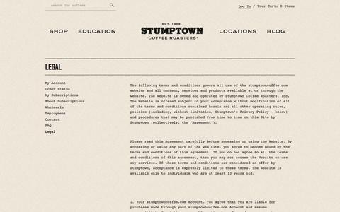 Screenshot of Terms Page stumptowncoffee.com - Legal - Stumptown Coffee Roasters - captured Sept. 24, 2014