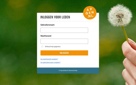 Screenshot of Login Page apgen.nl - Inloggen voor leden - captured Dec. 15, 2018