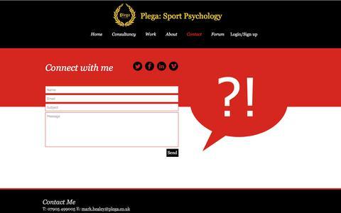 Screenshot of Contact Page plega.co.uk - Plega Sport Psychology contact details. - captured Aug. 12, 2017