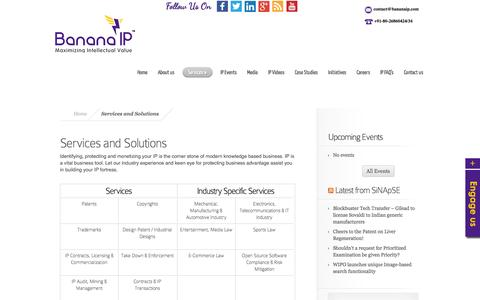 Screenshot of Services Page bananaip.com - Services | BananaIP | BananaIP Counsels - captured Sept. 19, 2014