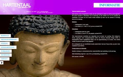 Screenshot of Services Page hartentaal.nl - Hartentaal  » Informatie:intuitieve training, -communicatie en -coaching - captured Sept. 29, 2014