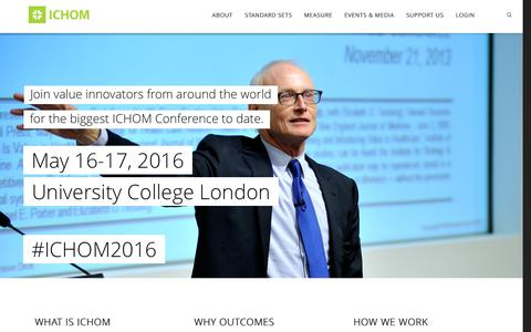 Screenshot of Home Page ichom.org - ICHOM – International Consortium for Health Outcomes Measurement - captured Feb. 11, 2016