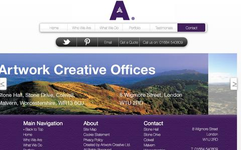 Screenshot of Contact Page artwork-creative.com - Artwork Creative-Contact - captured Oct. 4, 2014