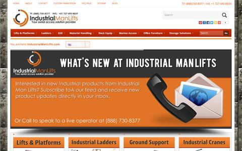 Screenshot of Home Page industrialmanlifts.com - Industrial ManLifts | Aircraft Maintenance Platforms | Ladders - captured Sept. 30, 2014