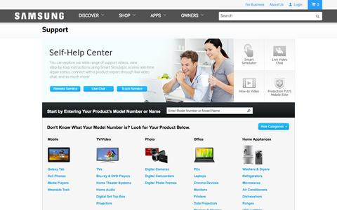 Screenshot of Support Page samsung.com - Samsung - captured Oct. 10, 2014