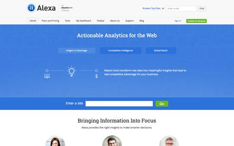 Screenshot of Home Page alexa.com - Alexa - Actionable Analytics for the Web - captured Sept. 19, 2014