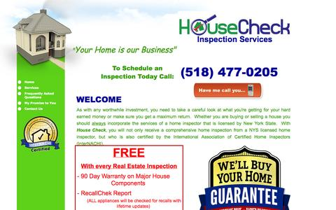Screenshot of Home Page housecheck-inspections.com - House Check Inspection Services Home - captured Oct. 3, 2014