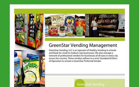 Screenshot of Home Page Menu Page greenstarvending.com - Dallas Vending Machine, Vending Machines Dallas, local vending machine, Vending Machine Company,  Energy Saving Vending Machine - captured Sept. 30, 2014