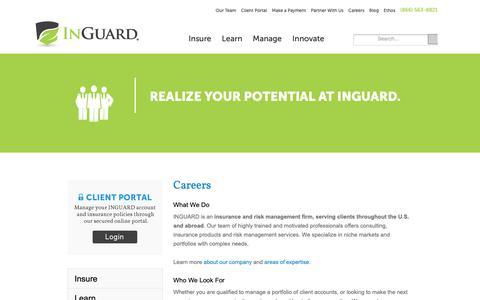 Screenshot of Jobs Page inguard.com - Insurance & Risk Management Careers | INGUARD - captured Oct. 16, 2018