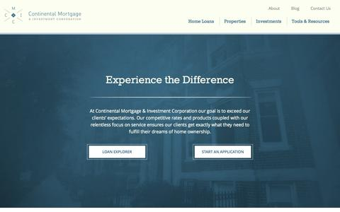 Screenshot of Home Page cmicloan.com - Continental Mortgage & Investment Corporation - captured Oct. 3, 2014