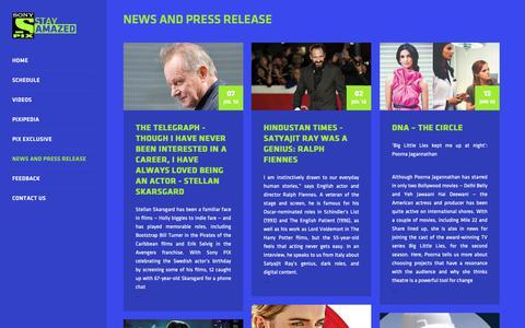Screenshot of Press Page sonypix.com - Sony PIX - captured Oct. 21, 2018