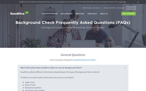 Screenshot of FAQ Page goodhire.com - How to Run a Personal Background Check on Myself - FAQs   GoodHire - captured Feb. 7, 2019