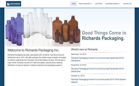 Screenshot of Home Page richardspackaging.com - Home - Richards Packaging - captured Jan. 11, 2020