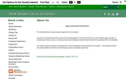 Screenshot of About Page new-miami.k12.oh.us - About Us - New Miami Local Schools - captured Oct. 31, 2018