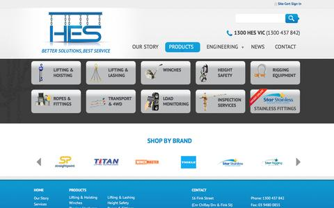 Screenshot of Products Page hesvic.com.au - Product Range   HES - captured Nov. 10, 2016