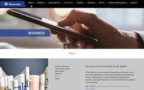 Screenshot of Press Page shermco.com - News - Shermco industries - captured Nov. 9, 2019
