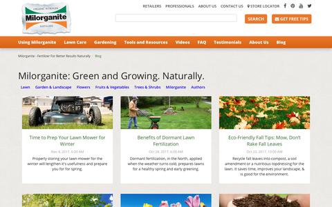 Screenshot of Blog milorganite.com - Milorganite Blog: Green and Growing. Naturally - captured Nov. 8, 2017