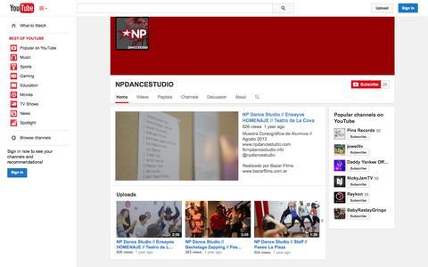 Screenshot of YouTube Page youtube.com - NPDANCESTUDIO  - YouTube - captured Oct. 26, 2014