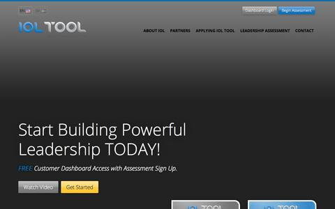 Screenshot of Home Page ioltool.com - Start Building Powerful Leadership TODAY! IOL Tool - captured Jan. 21, 2015