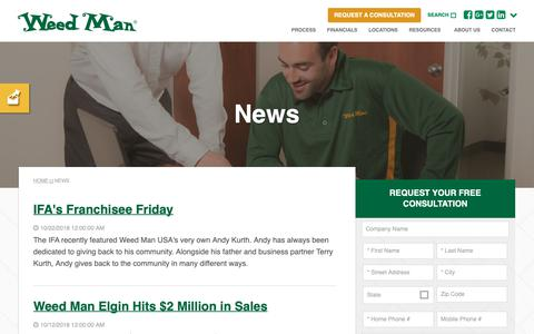 Screenshot of Press Page weedmanfranchise.com - Franchise News | Weed Man Lawn Care - captured Nov. 22, 2018