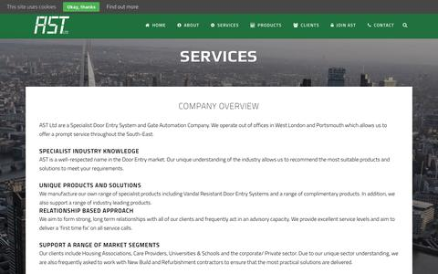 Screenshot of Services Page astlondon.co.uk - AST London |   Services - captured Feb. 5, 2016