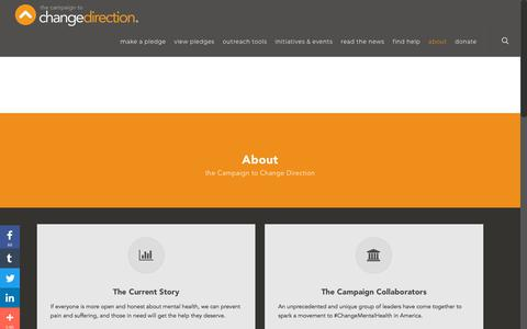 Screenshot of About Page changedirection.org - About - The Campaign to Change Direction - captured July 9, 2018
