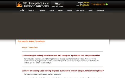 Screenshot of FAQ Page nycfireplaces.com - NYC Fireplaces and Outdoor Kitchens - Fireplaces, Barbecue and Grills, Outdoor Living Products, and More - captured Oct. 7, 2014