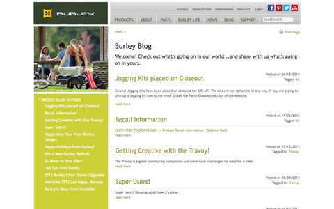 Screenshot of Blog burley.com - ::A Bicycle Lifestyle Blog - Burley--BURLEY-- - captured Sept. 22, 2014