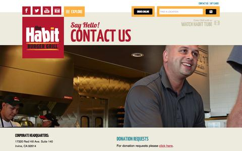 Screenshot of Contact Page habitburger.com - Say Hello! Contact Us | Habit Burger - captured Oct. 26, 2014