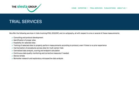 Screenshot of Trial Page thesiestagroup.com - The Siesta Group - Trial Services - captured Sept. 21, 2018