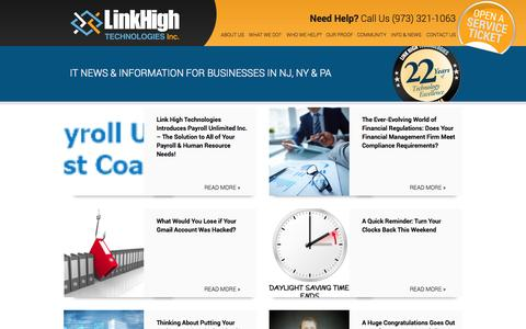 Screenshot of Blog linkhigh.com - IT News and Information For Businesses In NJ, NY and PA IT Support - captured Nov. 2, 2014