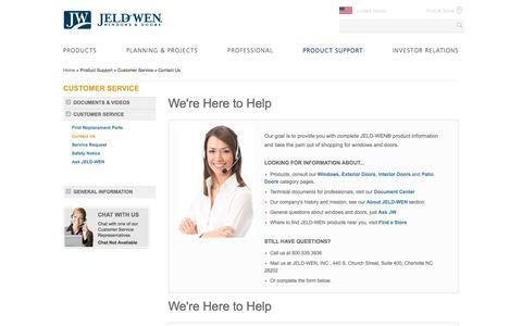 Screenshot of Contact Page Support Page jeld-wen.com - Contact Us | JELD-WEN Windows & Doors - captured June 8, 2017