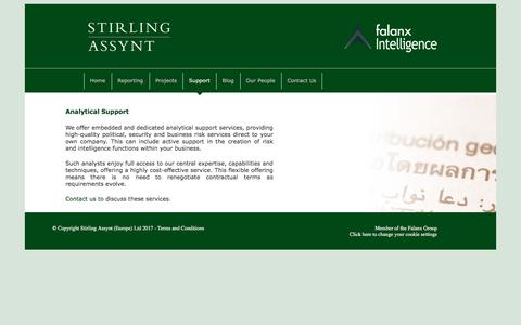 Screenshot of Support Page stirlingassynt.com - Analytical Support   Stirling Assynt - captured Nov. 7, 2017