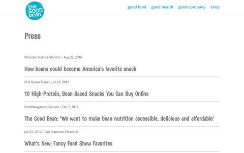 Screenshot of Press Page thegoodbean.com - press | The Good Bean - captured Jan. 13, 2018
