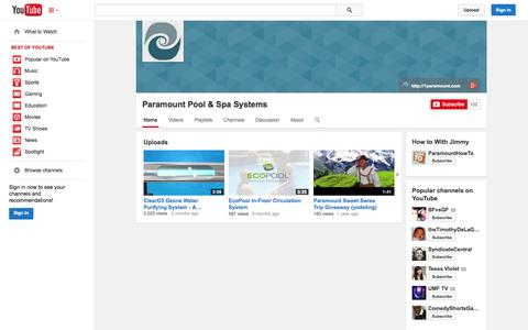 Screenshot of YouTube Page youtube.com - Paramount Pool & Spa Systems  - YouTube - captured Oct. 22, 2014
