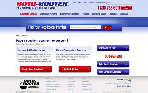 Screenshot of Contact Page rotorooter.com - Contact Roto-Rooter | Contact Your Local Plumbing & Drain Service - captured Oct. 26, 2014