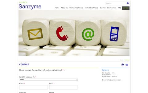 Screenshot of Contact Page sanzyme.com - Sanzyme - Home - captured Dec. 22, 2015