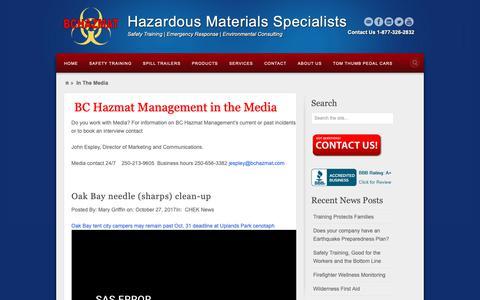 Screenshot of Press Page bchazmat.com - In The Media - BCHAZMAT Management Ltd. - captured Oct. 4, 2018