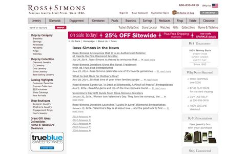 Screenshot of Press Page ross-simons.com - Ross-Simons News Releases - Ross-Simons Jewelry Industry News, Fashion & Trends, Buying Guides - captured Sept. 18, 2014