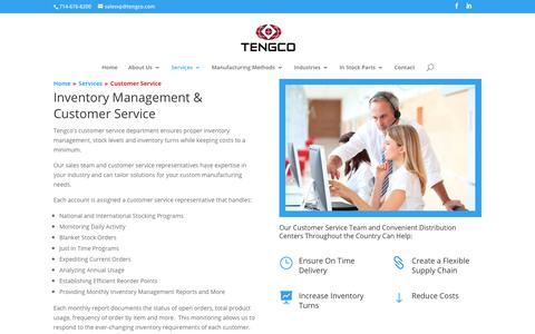 Screenshot of Support Page tengco.com - Inventory Management & Customer Service for Manufacturing   Tengco - captured Oct. 18, 2018