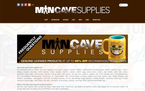 Screenshot of FAQ Page mancavesupplies.com.au - Man Cave Supplies | Frequently Asked Questions - captured May 28, 2017