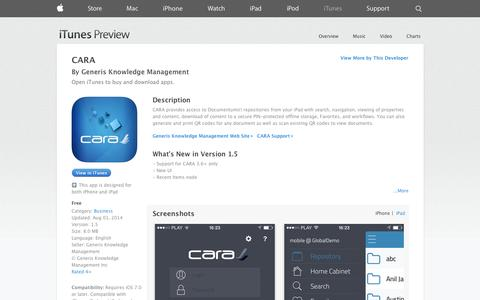 Screenshot of iOS App Page apple.com - CARA on the App Store on iTunes - captured Nov. 1, 2014