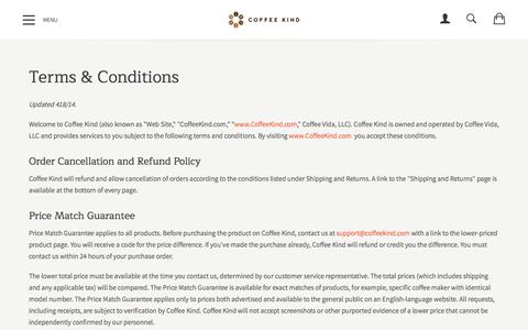 Screenshot of Terms Page coffeekind.com - Terms & Conditions - captured May 18, 2017