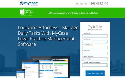 Screenshot of Landing Page mycase.com - MyCase | Legal Practice Management Software - captured Oct. 4, 2018