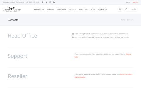 Screenshot of Contact Page liberty-flights.co.uk - Liberty Flights | Premium UK Made E Liquid, Vaping Kits - captured Sept. 24, 2018