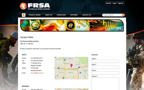 Screenshot of Contact Page frsa.com.au - Contact Us Fire and Rescue - captured Oct. 6, 2014