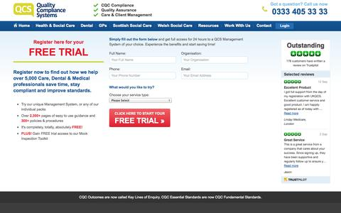 Screenshot of Trial Page ukqcs.co.uk - Free Trial » CQC Compliance - captured Sept. 23, 2014