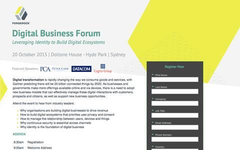 Screenshot of Landing Page forgerock.com - Digital Business Forum - captured Feb. 27, 2017